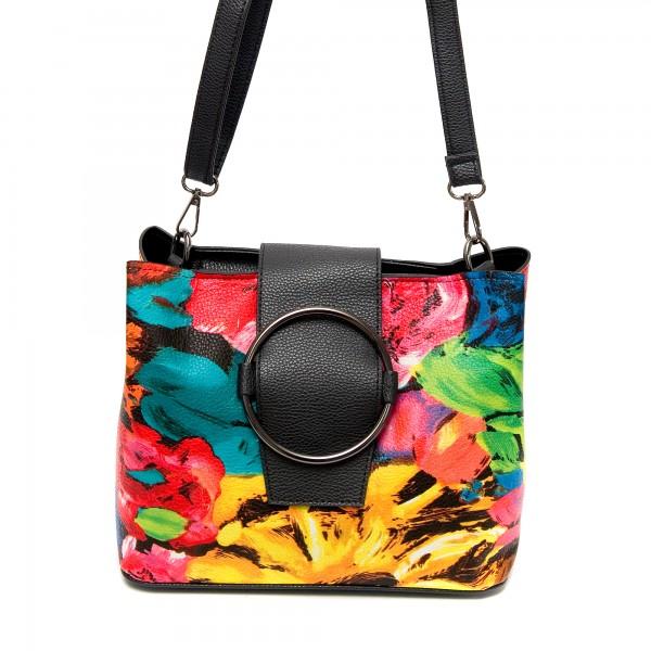 Многоцветна малка дамска чанта от еко кожа-Г502