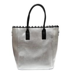 Сребриста дамска чанта от еко кожа с черни елементи-1318-Б