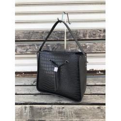 Елегантна дамска чанта от еко кожа черно кроко-1133