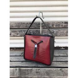 Елегантна дамска чанта в  цвят черно и бордо-1117
