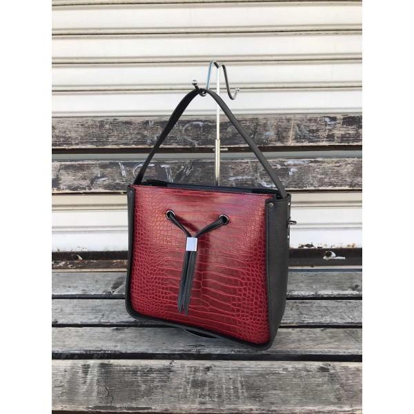 Елегантна дамска чанта в  цвят черно и бордо-1134