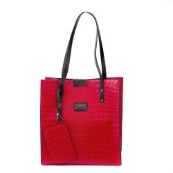 Червена стилна дамска чанта от еко кожа-а1118