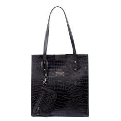 Ежедневна висока дамска чанта от еко кожа, черно кроко-1118