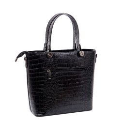 Дамска елегантна чанта от еко кожа черно кроко-а1117