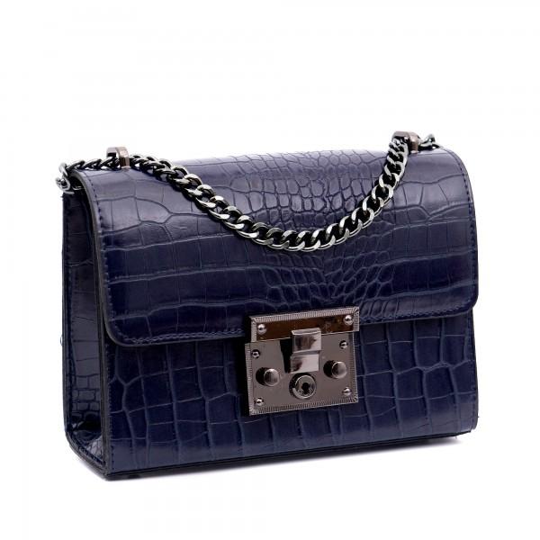 Синя малка кокетна дамска чанта от еко кожа-кроко-В1115