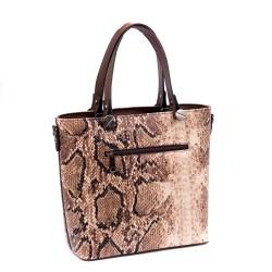 Модерна и стилна кафява дамска чанта змия от  еко кожа-1117