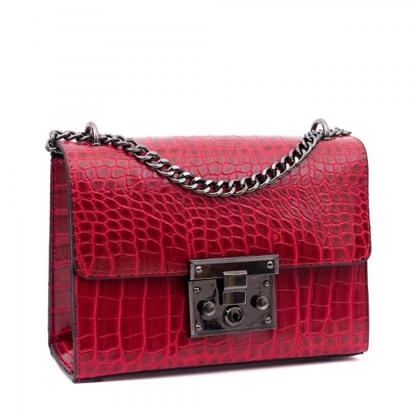 Удобна червена малка чанта от еко кожа кроко със метален синджир-1115