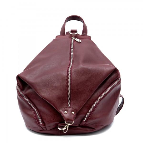 Дамска раница от еко кожа бордо в модерен дизайн-151-2
