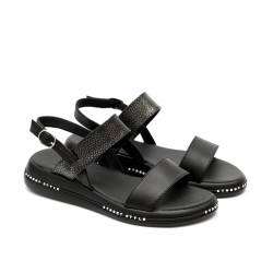 Дамски ежедневни сандали от естествена кожа черни с закопчаване-1123