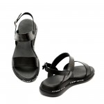 Дамски ежедневни сандали от естествена кожа черни със закопчаване-1123
