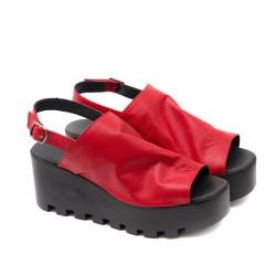 Червени дамски сандали от естествена кожа с олекотено ходило-1128
