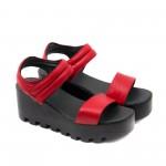 Червени сандали от естествена кожа , закопчаващи се с велкро-1126