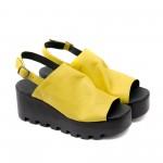 Жълти дамски сандали от естествена кожа с катарама-1129