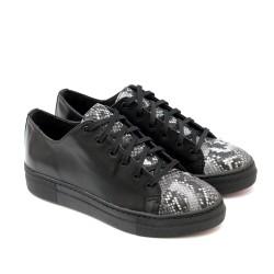 Дамски ежедневни обувки от естествена кожа и змийски мотив-1136