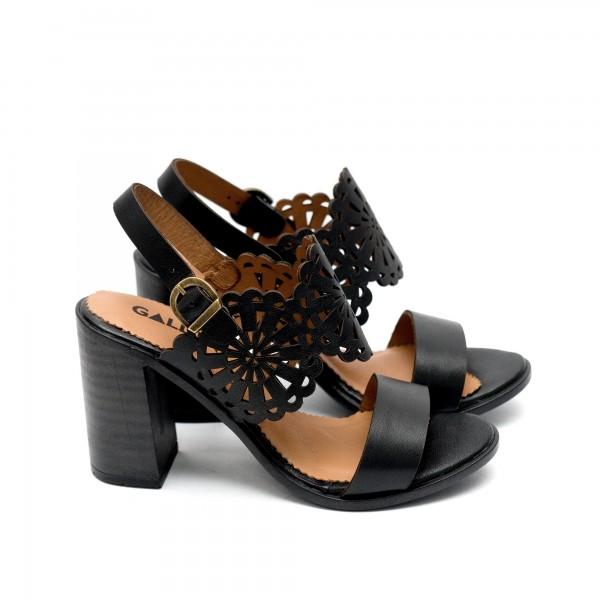 Дамски черни сандали на висок ток от естествена кожа-453