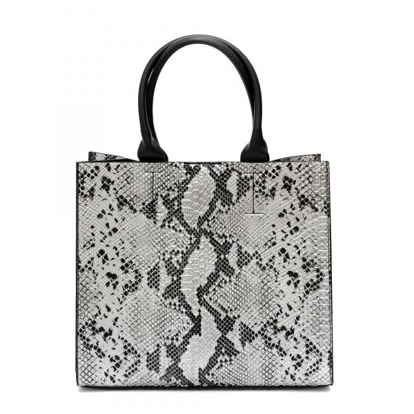 Дамска чанта в сив цвят с змийски принт-987