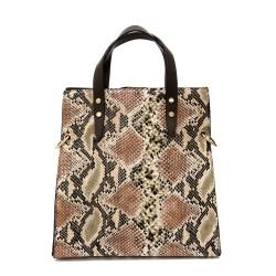 Дамска ефектна чанта с принт от питон-1084