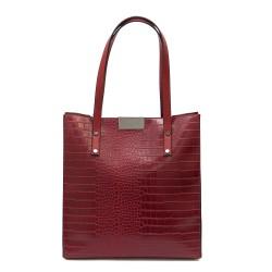 Ежедневна дамска чанта от еко кожа червено кроко-1076