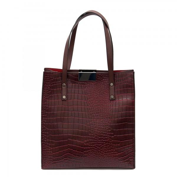 Ежедневна дамска чанта от еко кожа с кроко мотив в цвят бордо-1079