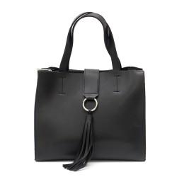 Черна ежедневна дамска чанта от еко кожа-1219