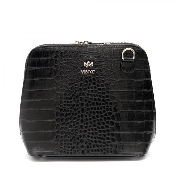 Дамска ежедневна чанта в черен цвят от еко кожа с кроко мотив-981