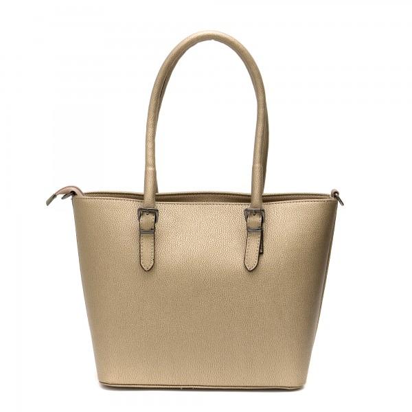 Елегантна дамска чанта от еко кожа в златно-652