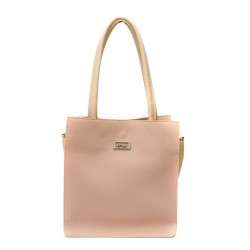Дамска чанта от еко кожа в пудра и бежово-687а