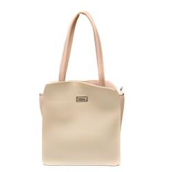 Дамска чанта от еко кожа в бежово и пудра-687