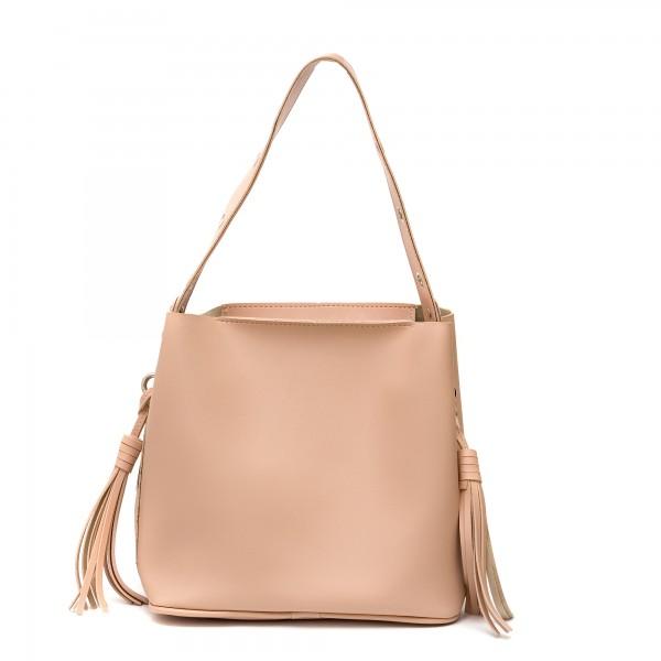 Дамска чанта от еко кожа в цвят пудра-145