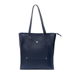 Дамска голяма чанта от еко кожа в син цвят-565