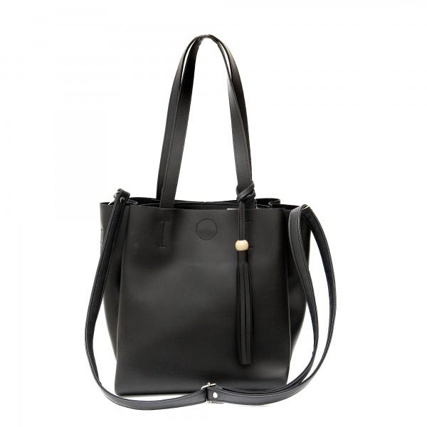 Дамска ежедневна чанта от еко кожа в черно-147