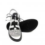 Дамски сандали от естествена кожа в бял цвят с леопардова щампа-1280