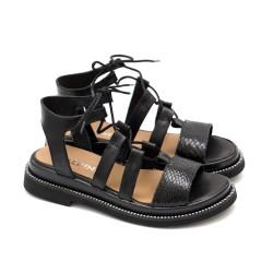 Дамски ежедневни сандали от естествена кожа и змийски мотив в черно-1281