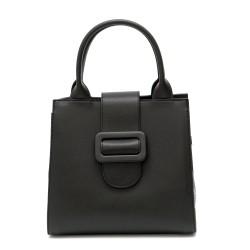 Стилна дамска чанта в класически черен цвят от еко кожа-1282