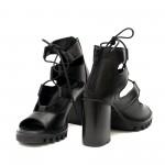 Дамски сандали от естествена кожа с висок ток и връзки в черно-1285
