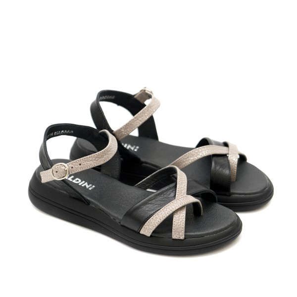 Дамски сандали в комбинация черно и пудра от естествена кожа-1289