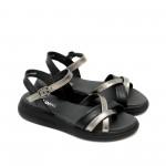 Дамски равни сандали от естествена кожа в комбинация черно със сребро-1288