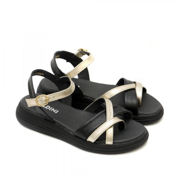 Черни дамски сандали от естествена кожа с златни акценти-1290