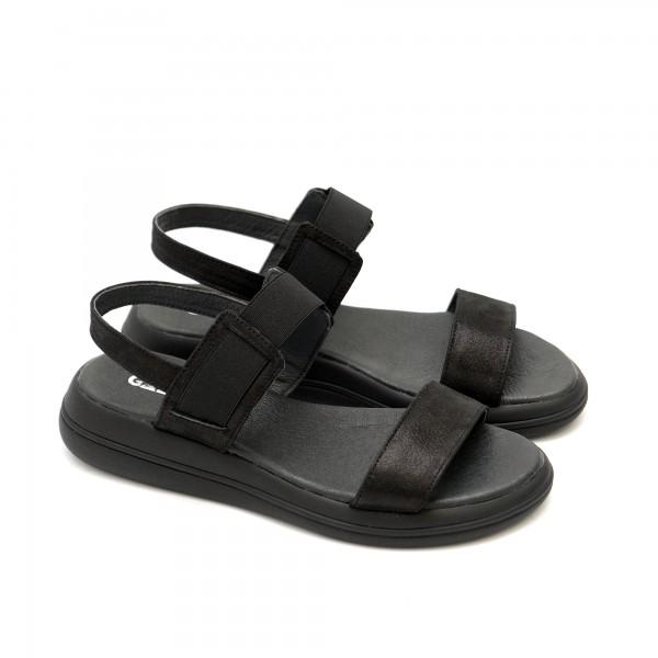 Дамски сандали от естествена кожа черни с ластик и равно ходило-1287