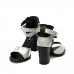 Дамски сандали от естествена кожа- сребро хамелеон с ефектно закопчаване-823