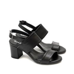 Ежедневни дамски сандали в черно от естествена кожа с закопчаване и широк ток-1286