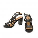 Черни високи дамски сандали от естествена кожа с ефектно лазерно изрязване-866