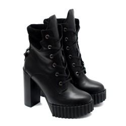 Черни дамски боти на висок ток от естествена кожа с цип и връзки-893