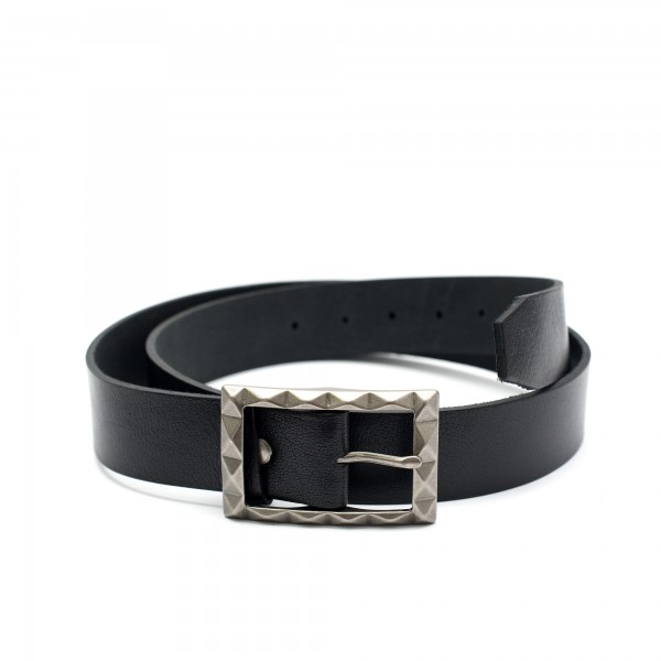 Висококачествен черен дамски колан от естествена кожа-3472