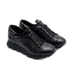Черни дамски спортни обувки от естествена кожа-887