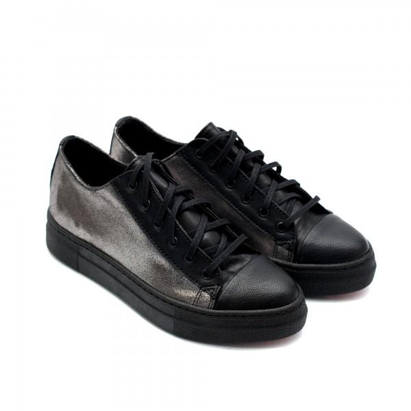 Есенни дамски обувки от естествена кожа черни със сребристо-884