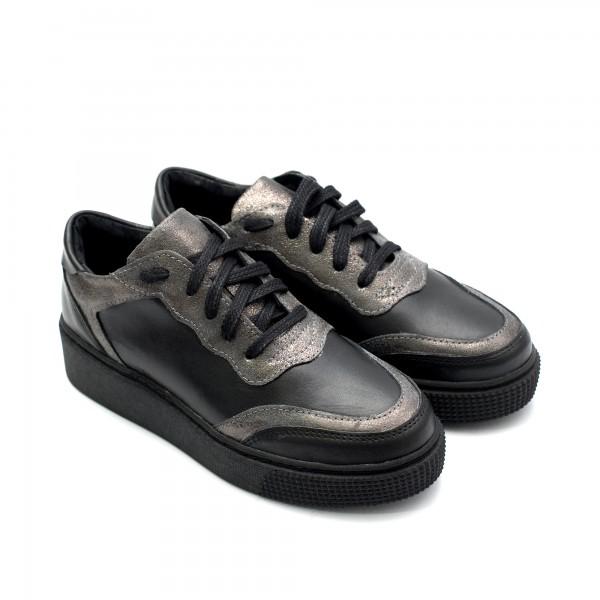 Дамски спортни обувки от естествена кожа черни със сребърни елементи-883
