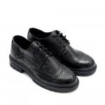 Есенни дамски обувки от естествена кожа черни с връзки-881
