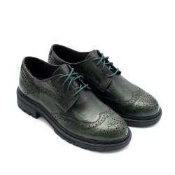 Зелени модерни дамски обувки с атрактивен дизайн от естествена кожа -882