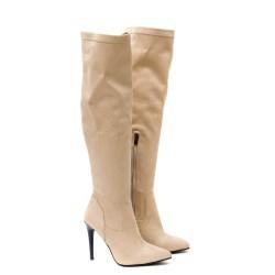 Дамски елегантни остри чизми на висок тънак ток от висококачествен стреч в бежов цвят-1858